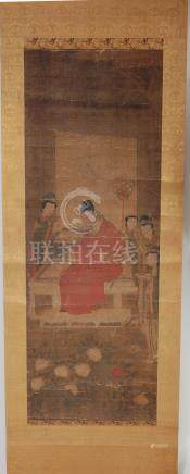 A cased set of three Chinese scroll paintings on silk with gold brocade, each depicting ceremonial