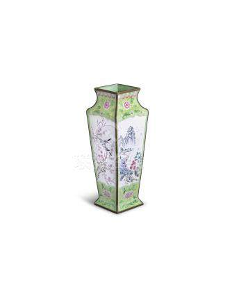 A CANTON ENAMEL SQUARE SECTION TAPERING VASE, Qing dynasty, 26cm high; together with a canton enamel