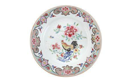 A CHINESE FAMILLE ROSE COCKEREL DISH, Yongzheng period (1723-1735), of shallow circular form,