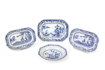 A COLLECTION OF THREE CHINESE BLUE AND WHITE OBLONG DISHES, c.1800, each with angled corners,
