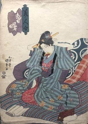 Estampe de Utagawa KUNISADA (1786-1864) format oban tate-e représentant une gei