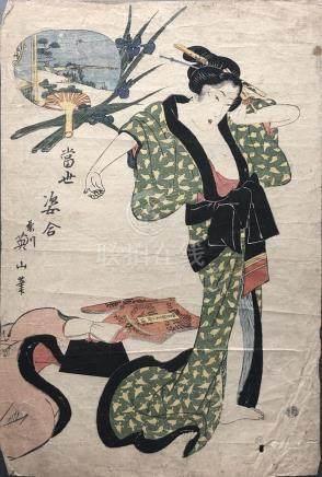 Estampe de Kikukawa EIZAN (1787-1867) format oban tate-e suggérant une scène de