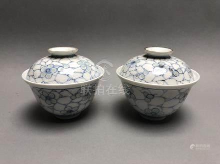 Paire de bols couverts en porcelaine bleu blanc à décor floral. Marque Ping Che