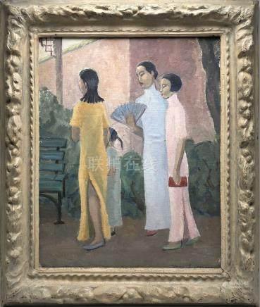 Vera ALABASTER (1889-1964). Chinoises : mère et filles. Huile sur toile maroufl