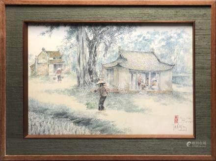 Tran DUY (1920-2014). Ecole des Beaux Arts de l'Indochine. Promotion 1945. Scèn