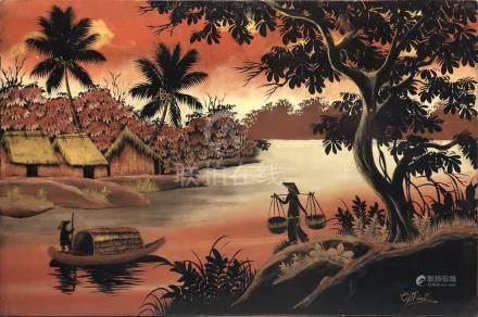 Ecole indochinoise vers 1950-60. Panneau en bois laqué à décor polychrome et or