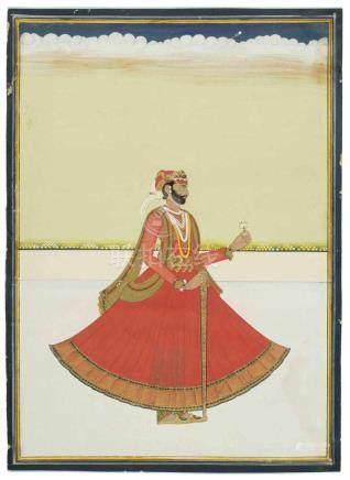 MiniaturmalereiIndien, um 1900. Gouache und Gold auf Halbkarton. Idealportrait eines Fürsten mit