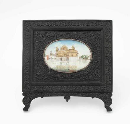"""MiniaturmalereiIndien, 19.Jh. Farbe und Gold auf Elfenbein. Darstellung des """"Goldenen Tempels"""""""