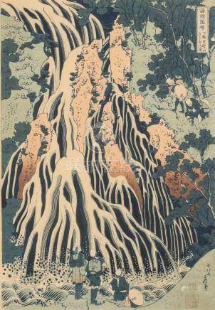 4 Blätter von Hokusai (1760–1849)Nachdruck. Aus der Serie Shokoku Taki-meguri. Shimotsuke Kurokami-