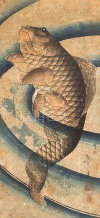 Taito Katsushika (1810–1853)Farbholzschnitt. Karpfen. Signiert mit zwei roten Stempel. Stark
