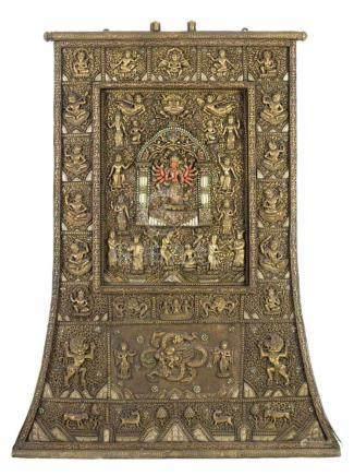 Votivtafel der AvalokiteshvaraNepal, 1. Hälfte 20. Jh. Kupfer. Treib- und Filigranarbeit. Tlw.