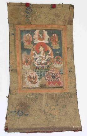 Thangka der UshnishavijayaTibet/Nepal, 18. Jh. Farben auf Leinwand. Darstellung der dreiköpfigen