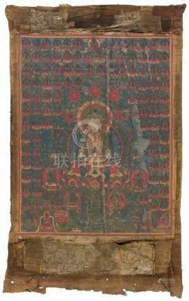 Thangka des AmitayusSinotibetisch, 18./19. Jh. Farben auf Leinwand. In padmasana sitzender Amitayus,