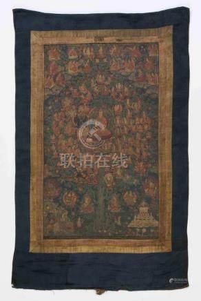 Thangka des Tsongkhapa TsogshinTibet, 19./20. Jh. Darstellung des Gelugpa-Zufluchtsbaums und