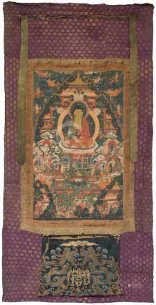 Thangka des Buddha Amitabha im westlichen ParadiesTibet, 18. Jh. Darstellung des Buddha Amitabha,