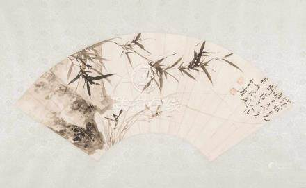 FächermalereiChina, 20. Jh. Tusche auf Papier. Bambus und Fels. Signiert Xuetao. L 49,5. Aufgezogen.