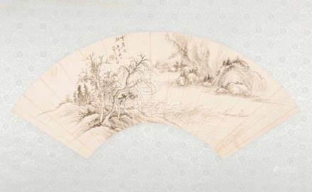 Fächermalerei, Xi Gang, zugeschriebenChina, 20. Jh. Tusche auf Papier. Landschaftsmalerei. L 49,5.