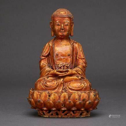 A Gilt-Lacquer Bronze Figure of Amitabha