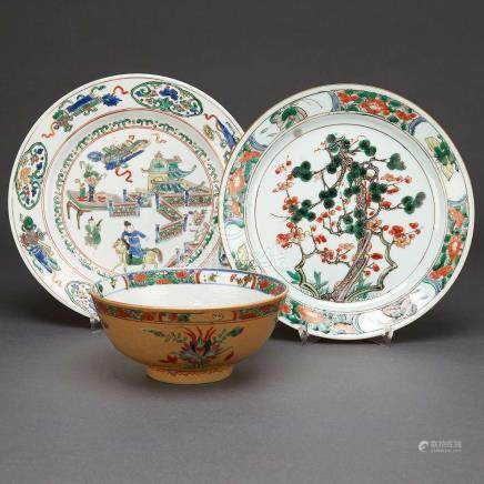 Four Famille Verte Plates and A Bowl