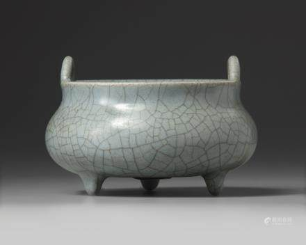 A Chinese grey crackle-glazed tripod censer