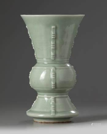 A Chinese celadon-glazed vase, gu