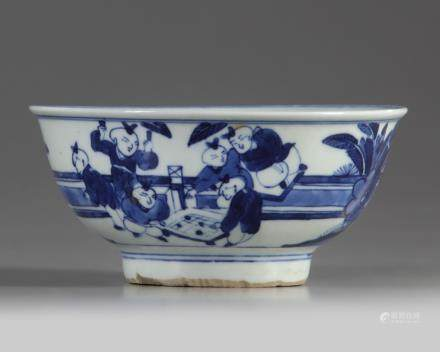 A Chinese blue and white 'boys' bowl