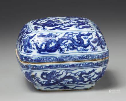 A Chinese blue and white square-section box and cover
