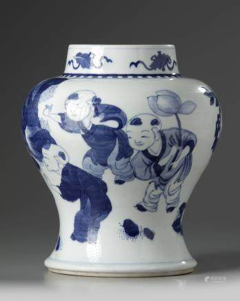 A Chinese blue and white 'boys' vase