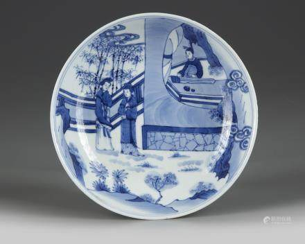 A Chinese blue and white 'Romance of the Western Chamber' dish