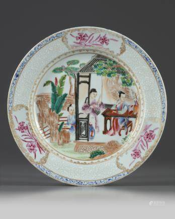 A Chinese famille rose 'ladies' dish