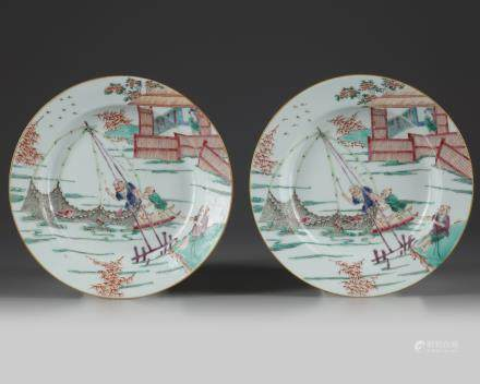 A pair of Chinese famille rose 'fishermen' dishes
