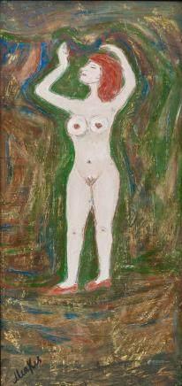 Polish Expressionist Oil on Panel Signed Menkes