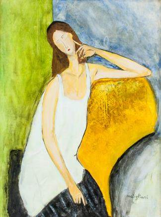 Italian Cubist Oil on Canvas Signed Modigliani