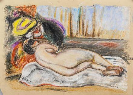 French Pastel on Paper Nude Signed Renoir