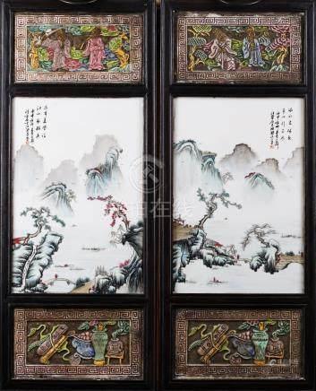 Chine, XXe siècle.  Paire de plaques en porcelaine emaillée à motif de paysages