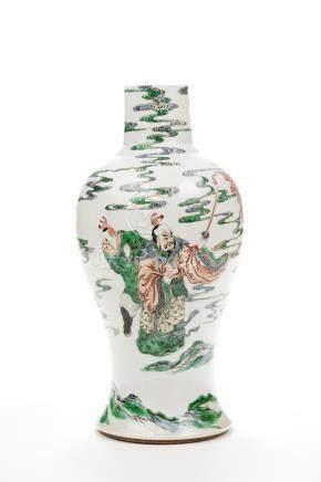 Chine, époque Kangxi, XVIIIe siècle.  Grand vase en porcelaine à décor de la fa