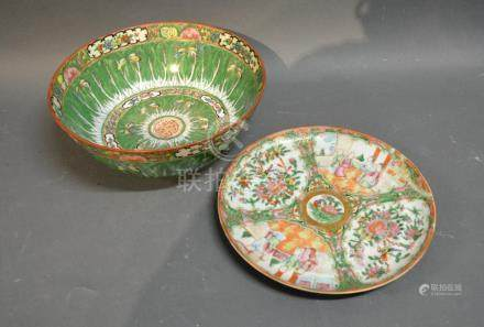 A Canton Bowl, 26cm Diameter Together With A Canton Plate