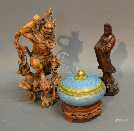 A Japanese Figural Root Carving Together With Another Similar Figure and a Cloisonne covered bowl