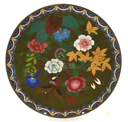 (Asian antiques) Cloissone plate