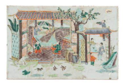 * A Chinese Famille Verte Porcelain Plaque Width 9 3/8