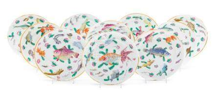 * Ten Chinese Famille Rose Porcelain Plates Diameter