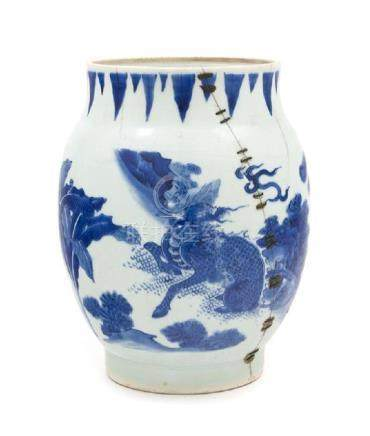 * A Chinese Blue and White Porcelain Vase Height 9 1/2