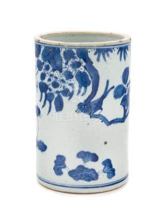 * A Chinese Blue and White Porcelain Brushpot, Bitong