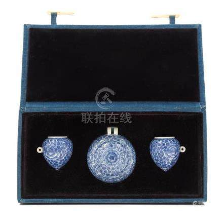 * Three Chinese Blue and White Porcelain Bird Feeders