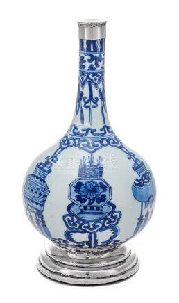 * A Chinese Export Silver-Mounted Blue and White