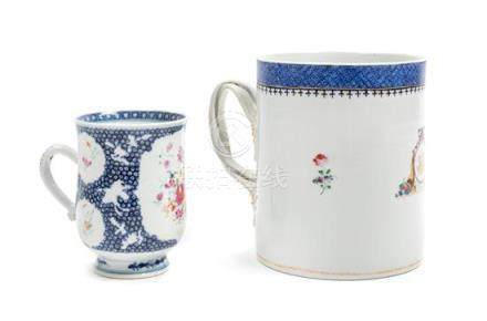 * Two Chinese Export Famille Rose Porcelain Mugs Height