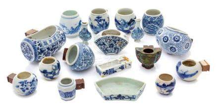 * Eighteen Chinese Blue and White Porcelain and