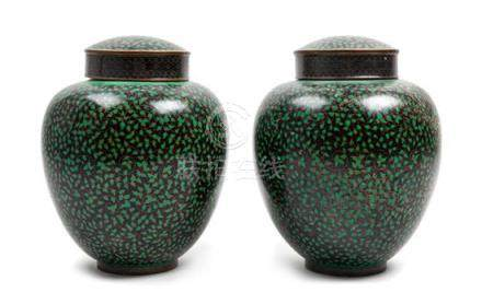 * A Pair of Chinese Cloisonne Enamel Ginger Jars Height