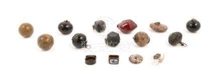 * Thirteen Chinese Hardstone and Glass Pendants