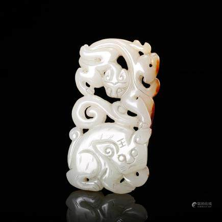 CHINESE WHITE JADE CARVED PENDANT